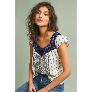 "Anthropologie ""Palm Springs Fringed Blouse"" sz S"